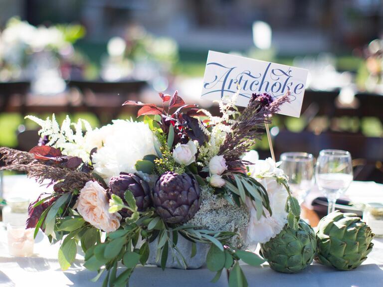 Artichoke vegetable wedding reception centerpiece