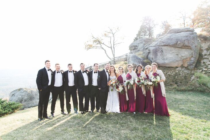 Traditional Black-Tie Wedding Party with Fall Accent Colors