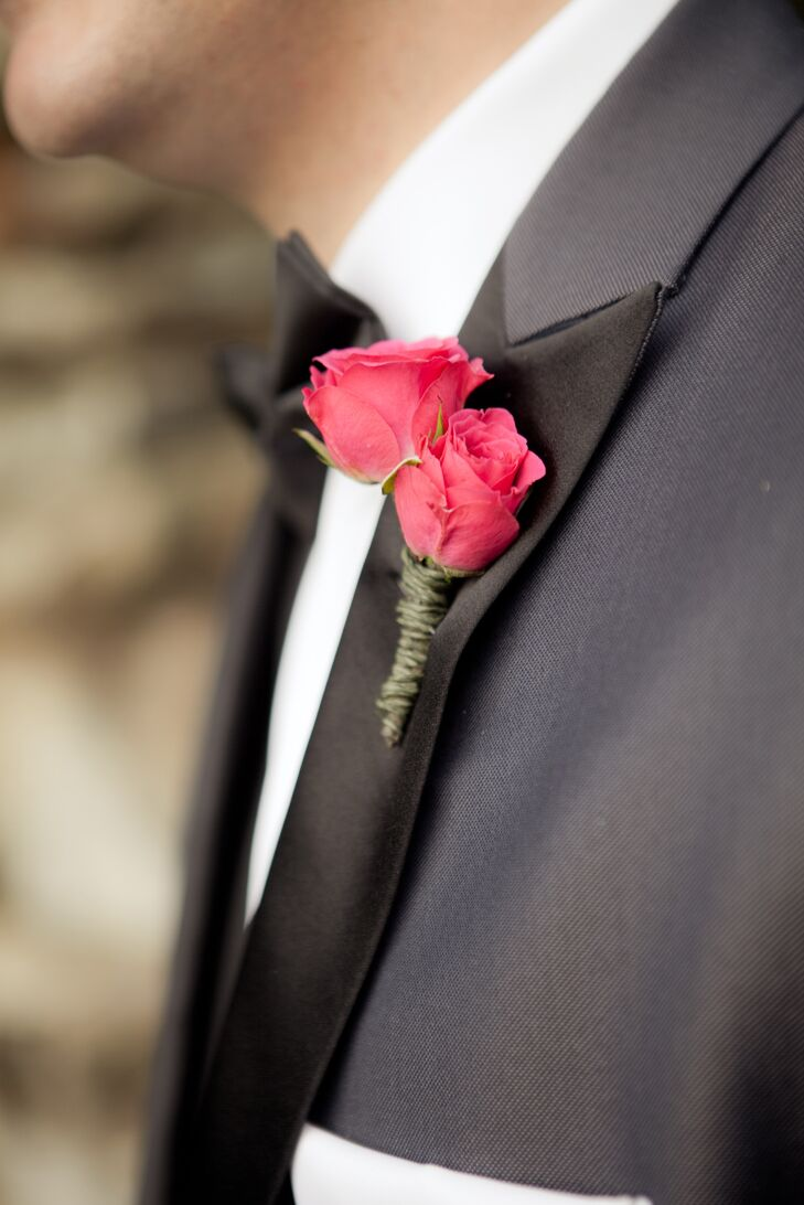 Double Fuchsia Tea Rose Boutonniere