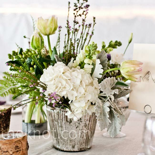 Rustic mercury glass centerpieces