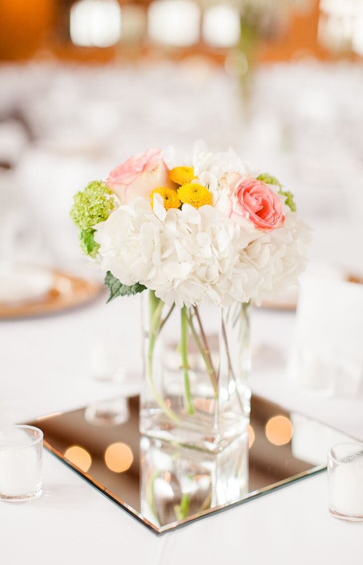 Hydrangea, Rose and Button Mum Centerpiece