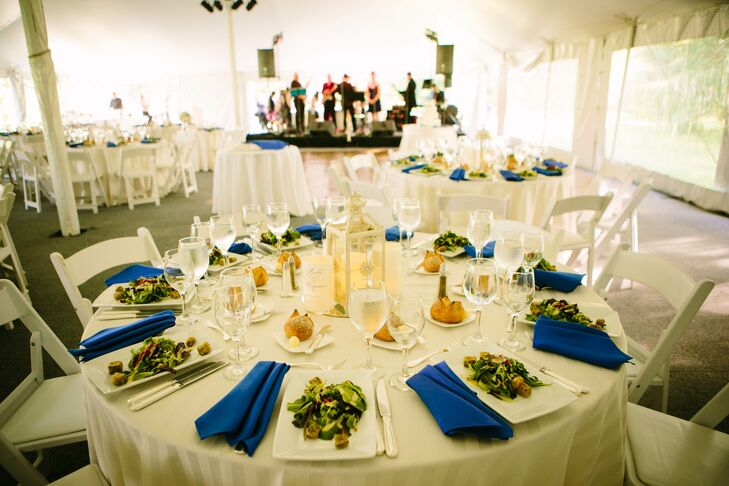 Royal Blue and Ivory Table Settings