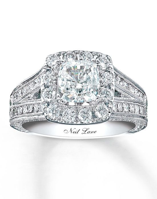 Neil Lane Diamond Engagement Ring 2 ct tw Cushion-cut 14K White Gold-990643900 Engagement Ring photo