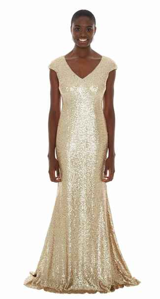 gold bridesmaid dress by Theia