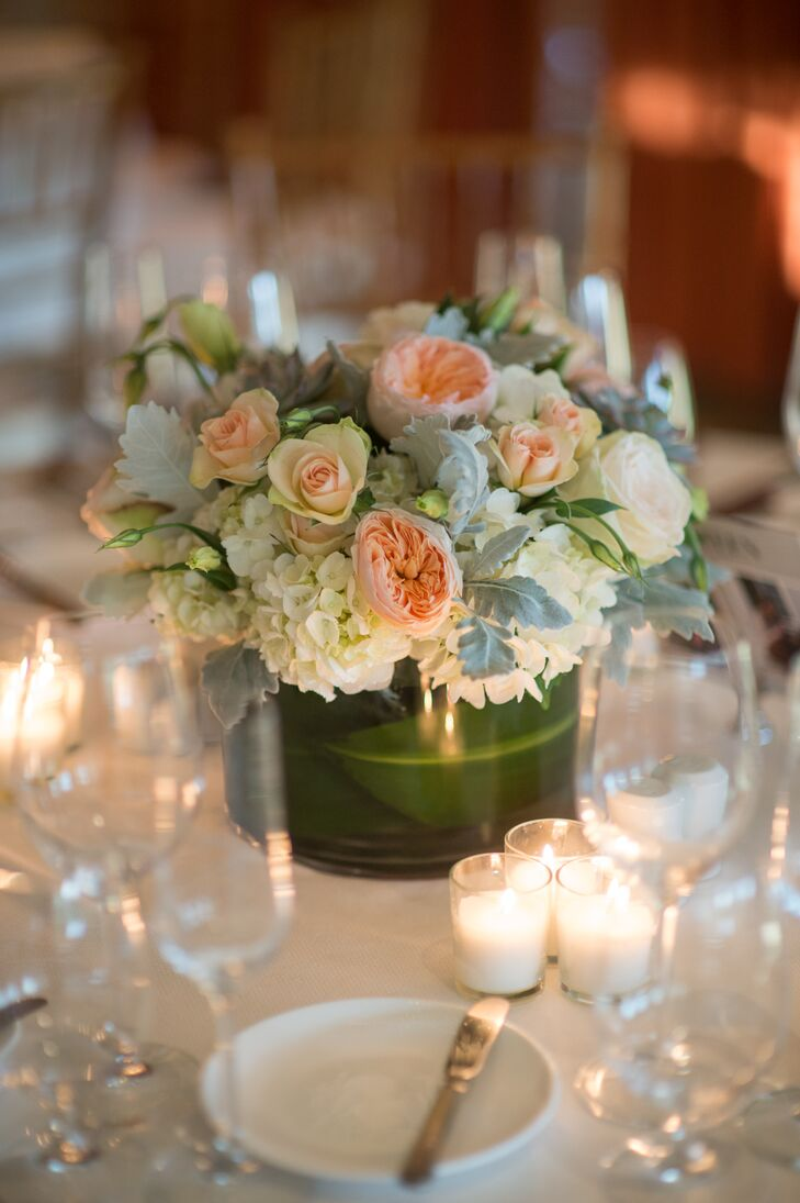 Rose hydrangea and dusty miller centerpieces