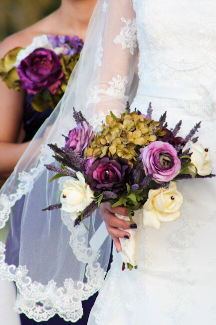 Rustic Purple Gold And Ivory Bridal Bouquet