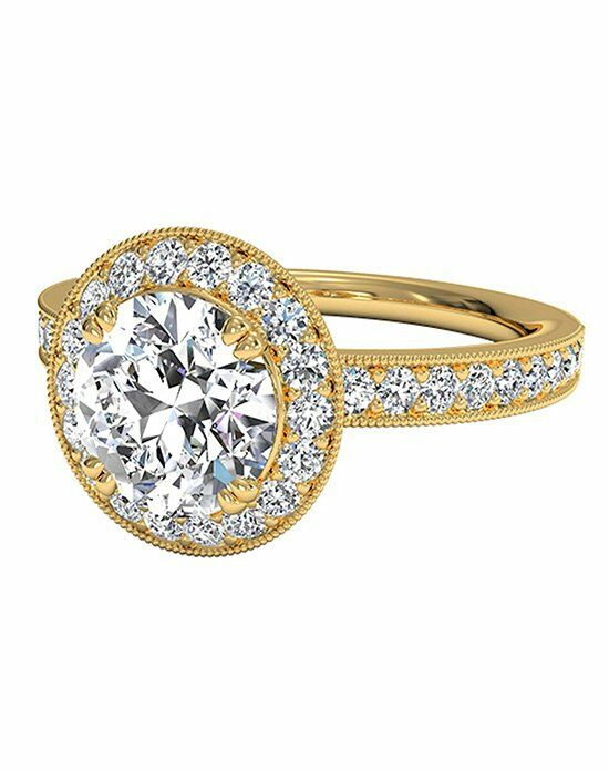 Ritani Vintage Round Cut Halo Diamond Engagement Ring with Surprise Diamonds in 18kt Yellow Gold (0.40 CTW) Engagement Ring photo