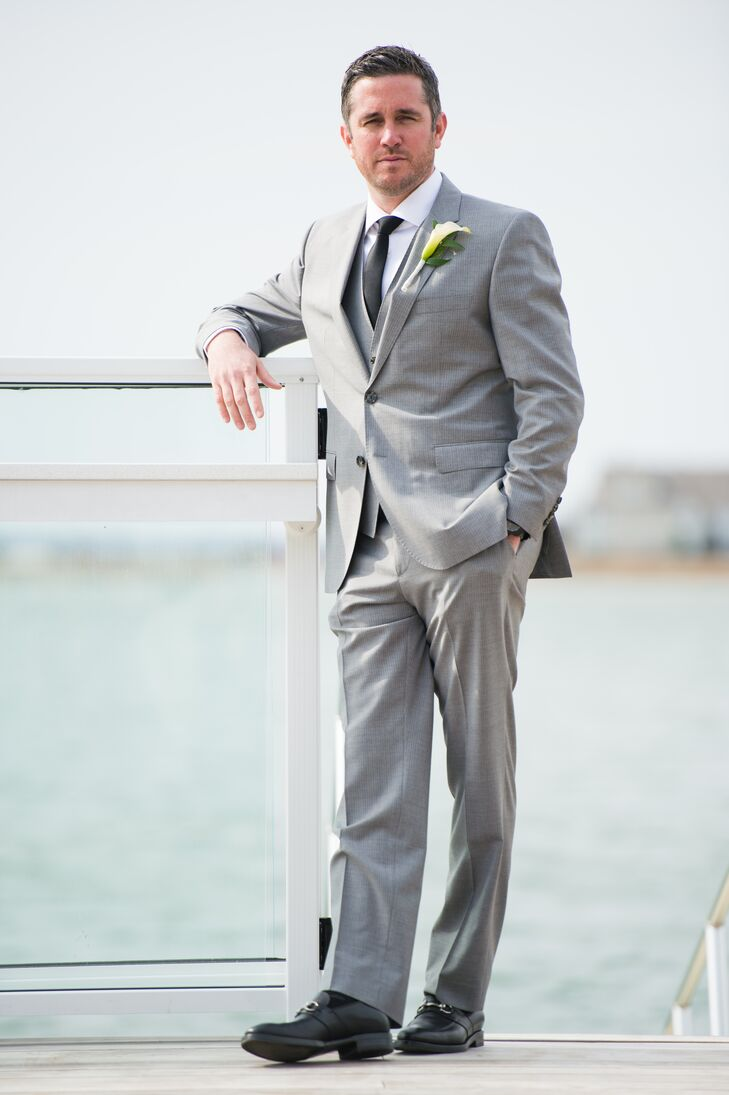 Groom in Pinstripe, Light Gray Suit With Black Tie
