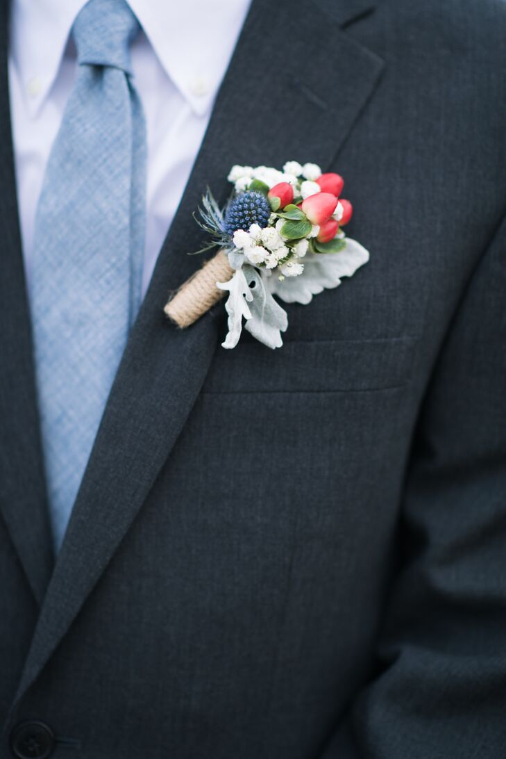 Dusty Blue Groom S Tie With Thistle And Berry Boutonniere