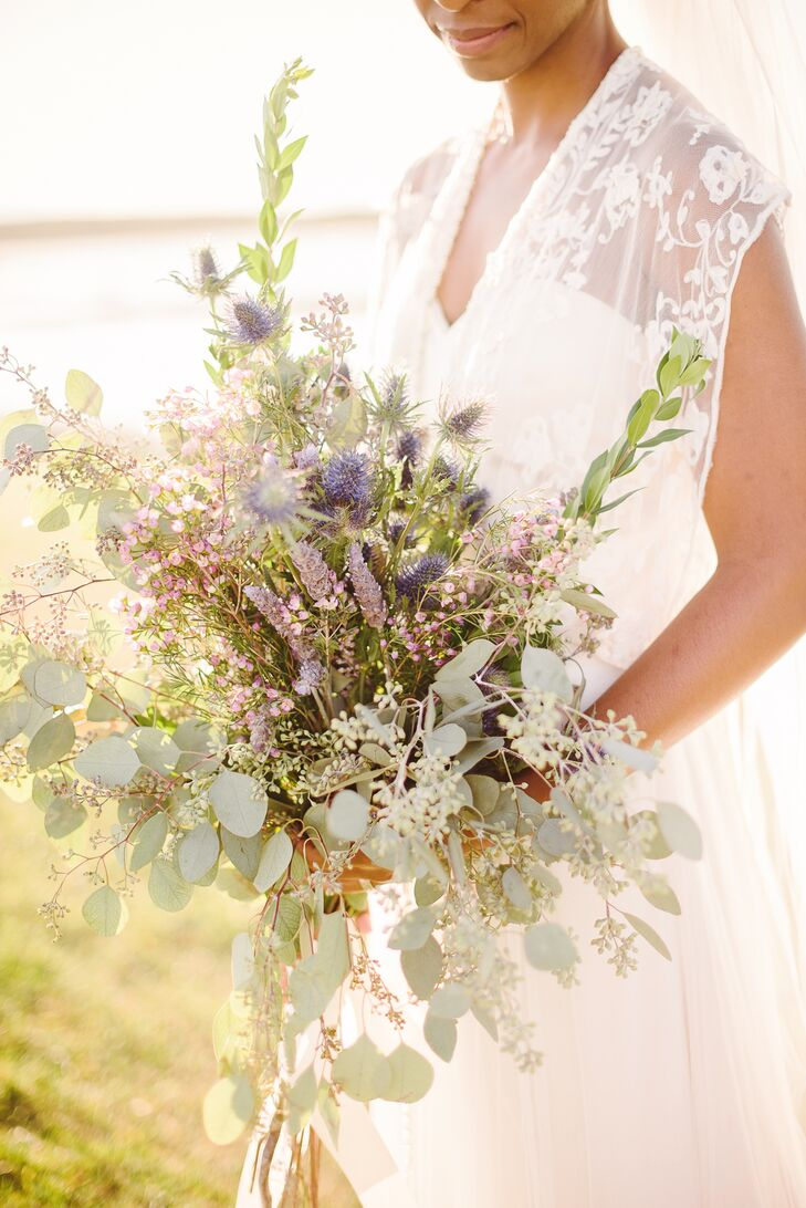 Eucalyptus lavender and wax flower bridal bouquet izmirmasajfo