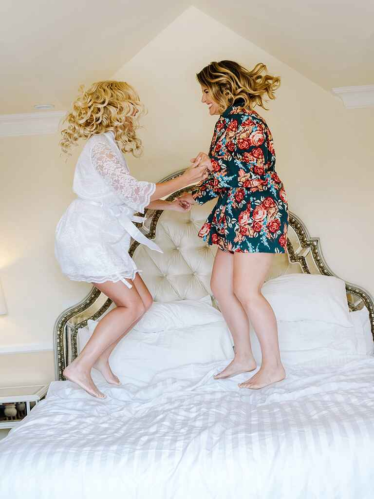 Slumber party idea with fun robes for a bachelorette party