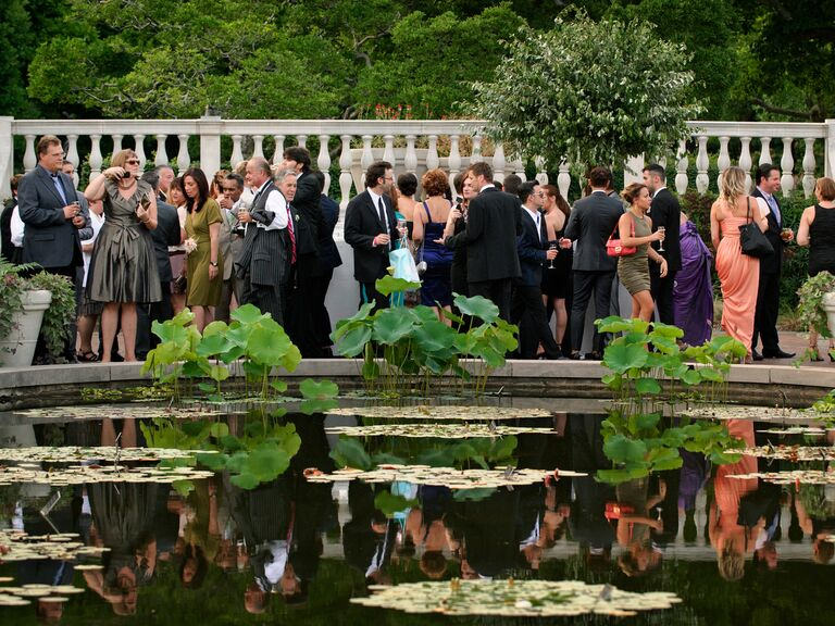 Guests enjoy outdoor reception