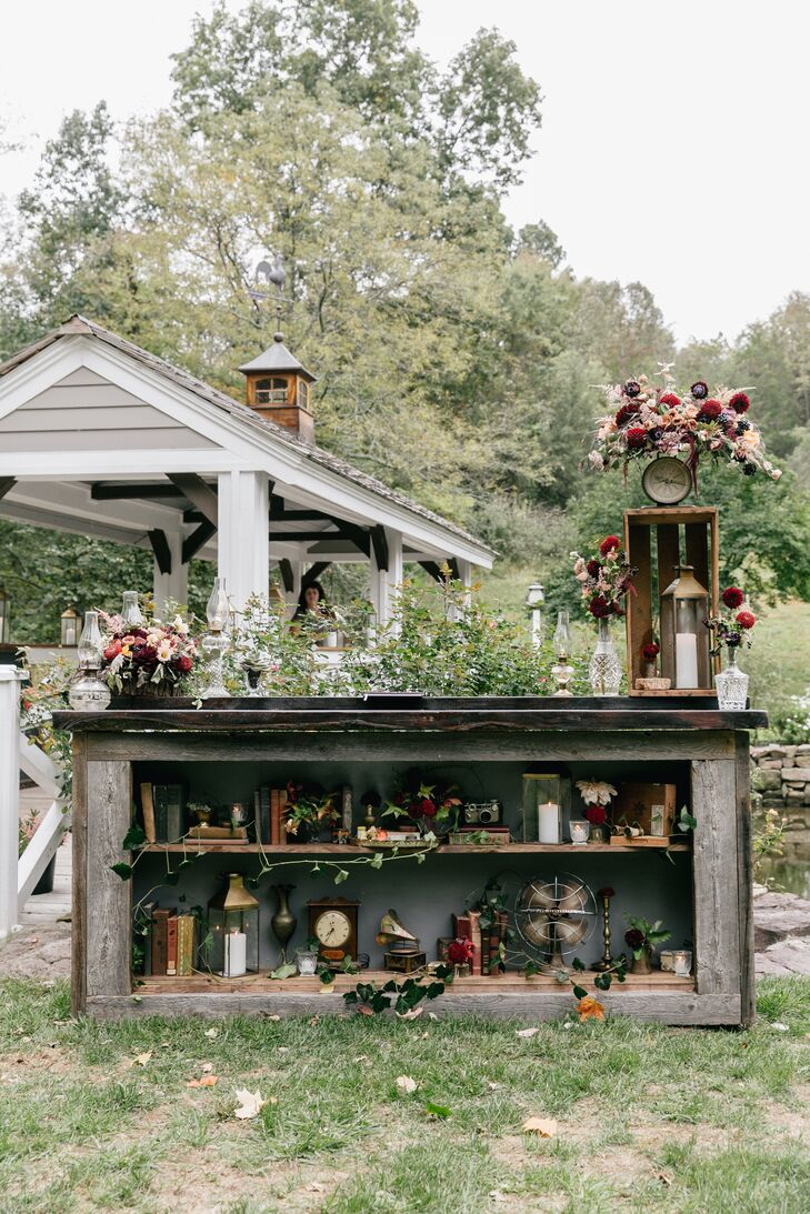 Farm Reception with Vintage Décor and Fall Blooms