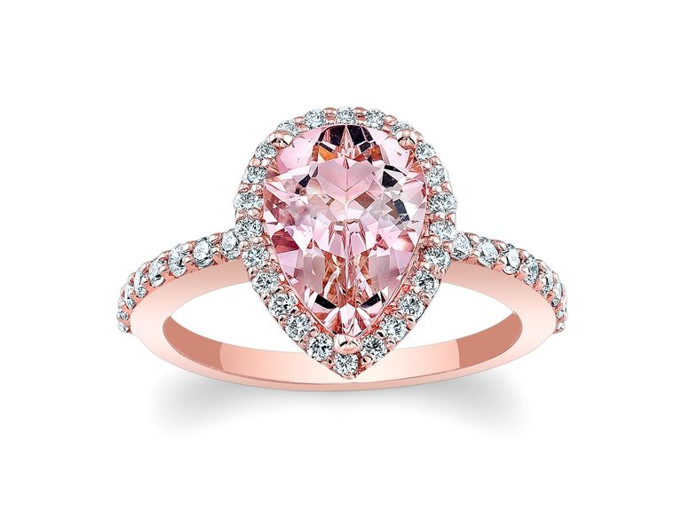 barkevs morganite pink engagement ring - Pink Wedding Rings