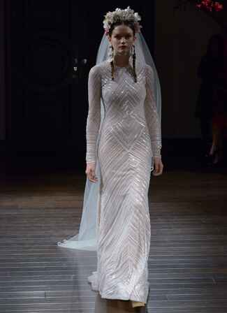 Naeem Khan Fall 2016 long sleeve sheath dress with sequined embellishment