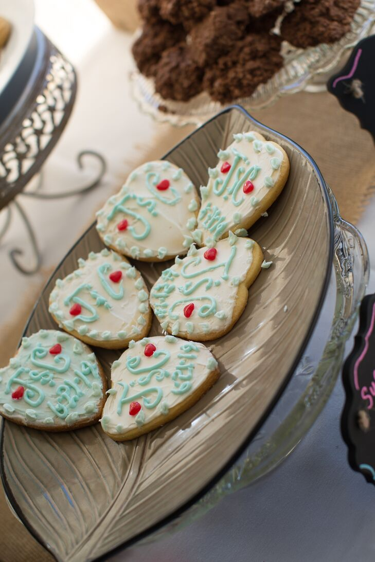 Personalized Heart Shaped Wedding Cookies
