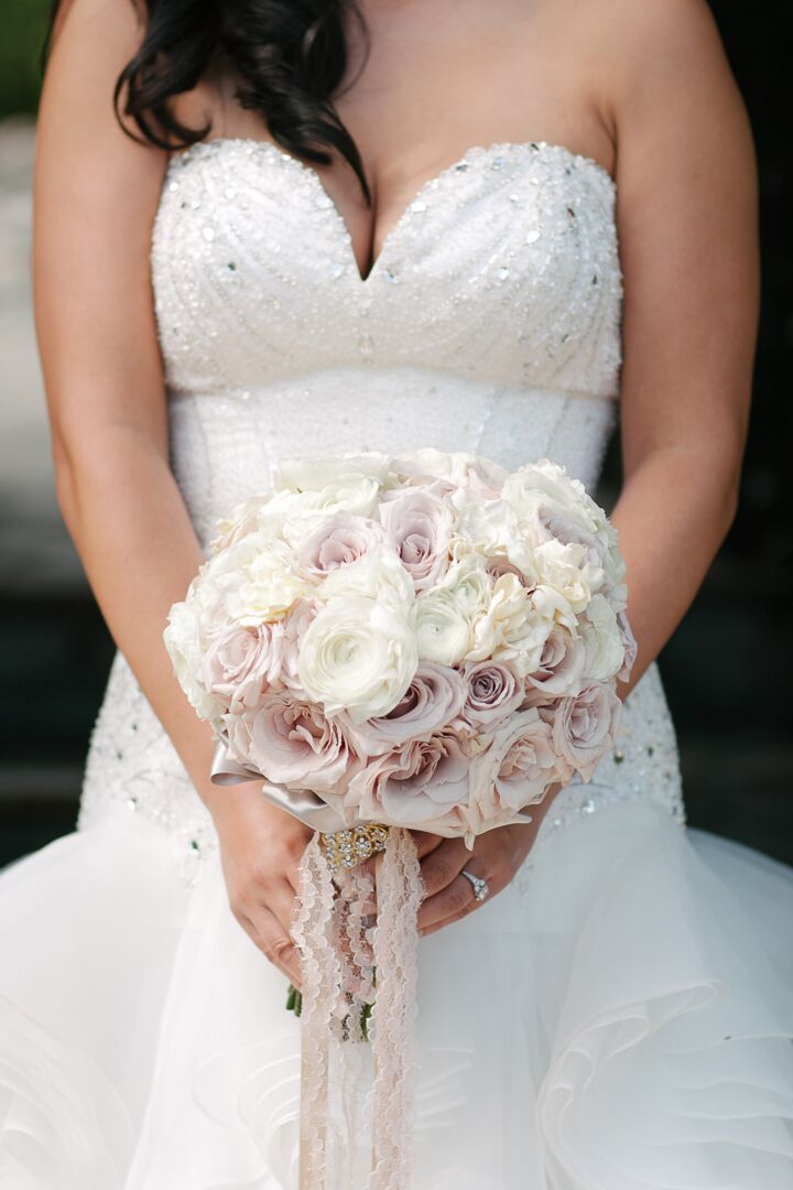 White And Light Pink Rose Bouquet