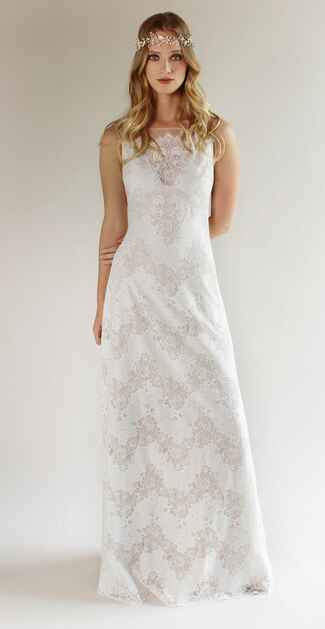 Claire Pettibone Spring 2017 illusion lace bateau neckline wedding dress with sheet illusion back, and flowing floral lace silhouette