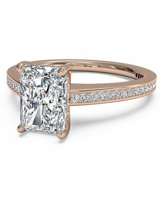 Ritani Radiant Cut Diamond Micropave Band Engagement Ring in 18kt Rose Gold (0.20 CTW) Engagement Ring photo