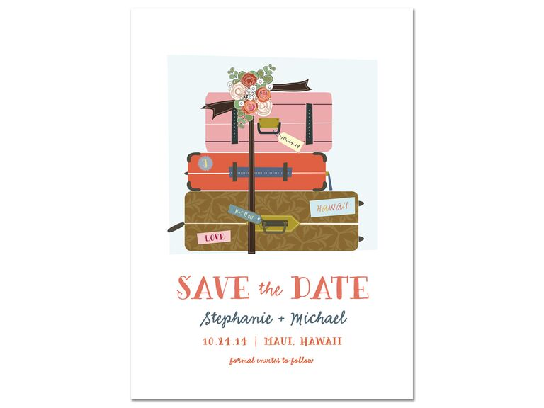 Illustrated luggage save-the-date from Minted