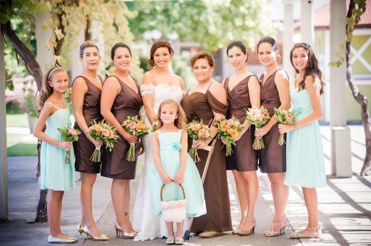 Chocolate and Aqua Bridesmaid Dresses