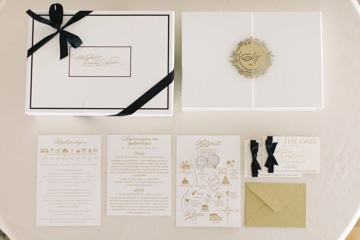 "Designing wedding stationery for her clients was common practice for Silje, so creating a custom set for her own nuptials was a no-brainer. Inspired by the theme and Villa Miani's timeless vibe, the couple chose elegant ivory card stock, which they decorated with gold script, a personalized monogram and a custom map. ""I always think it's important to feel inspired by something when you design the wedding of your dreams,"" Silje says. ""Then it's much easier to create a signature look for all the wedding details."""