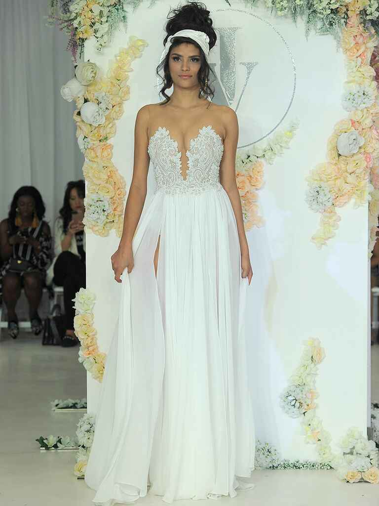 Julie Vino Fall 2018 empire waist wedding dress with illusion plunging neckline