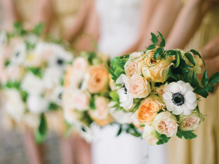 Garden rose and anemone bridesmaid bouquets