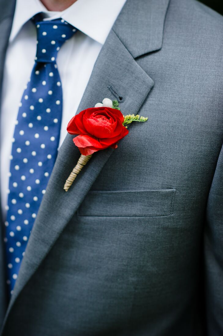 Single Red Ranunculus With Fern Boutonniere