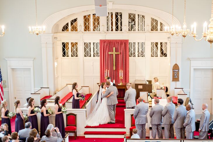 "The ceremony was held at Community Presbyterian Church in Pinehurst, NC. ""The church feels intimate, but was big enough to comfortably accommodate all of our wedding guests,"" says Stephanie."
