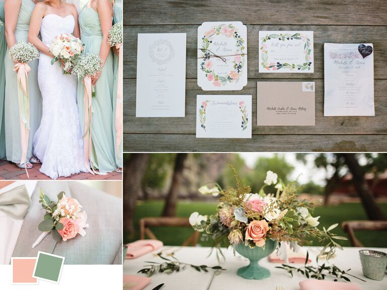 Wedding color inspiration for a peach and sage palette