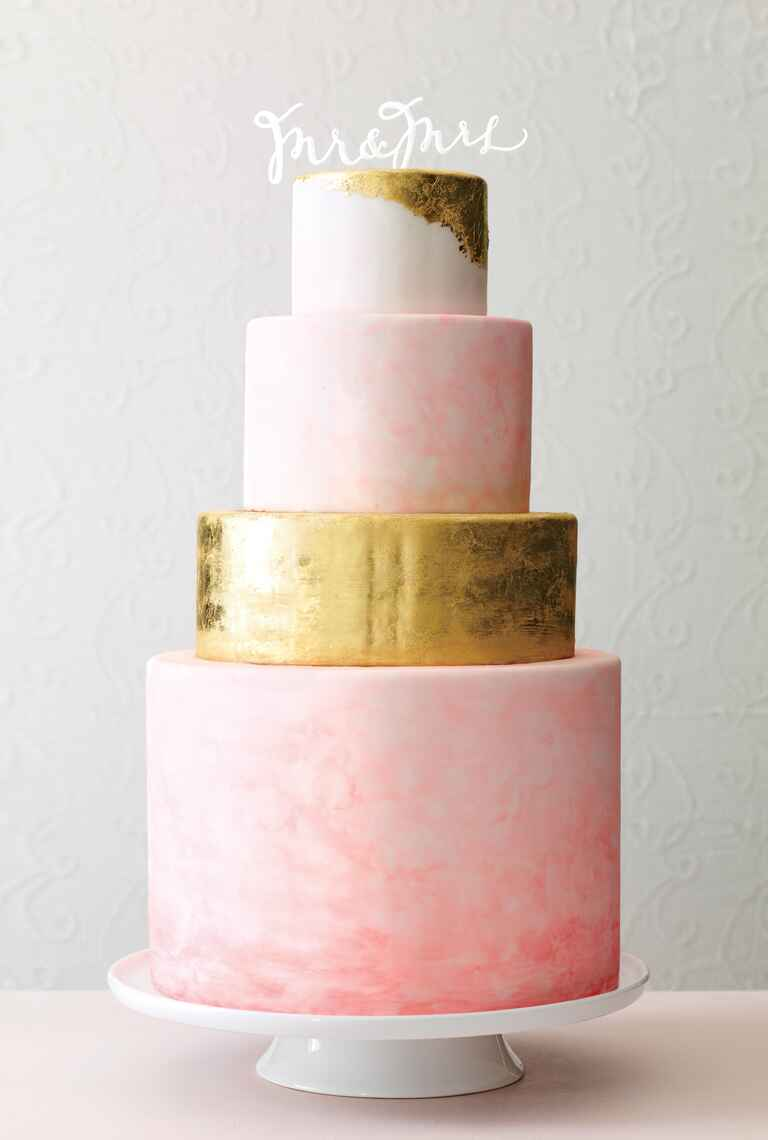 Sweet and Saucy Shop gold watercolor wedding cake