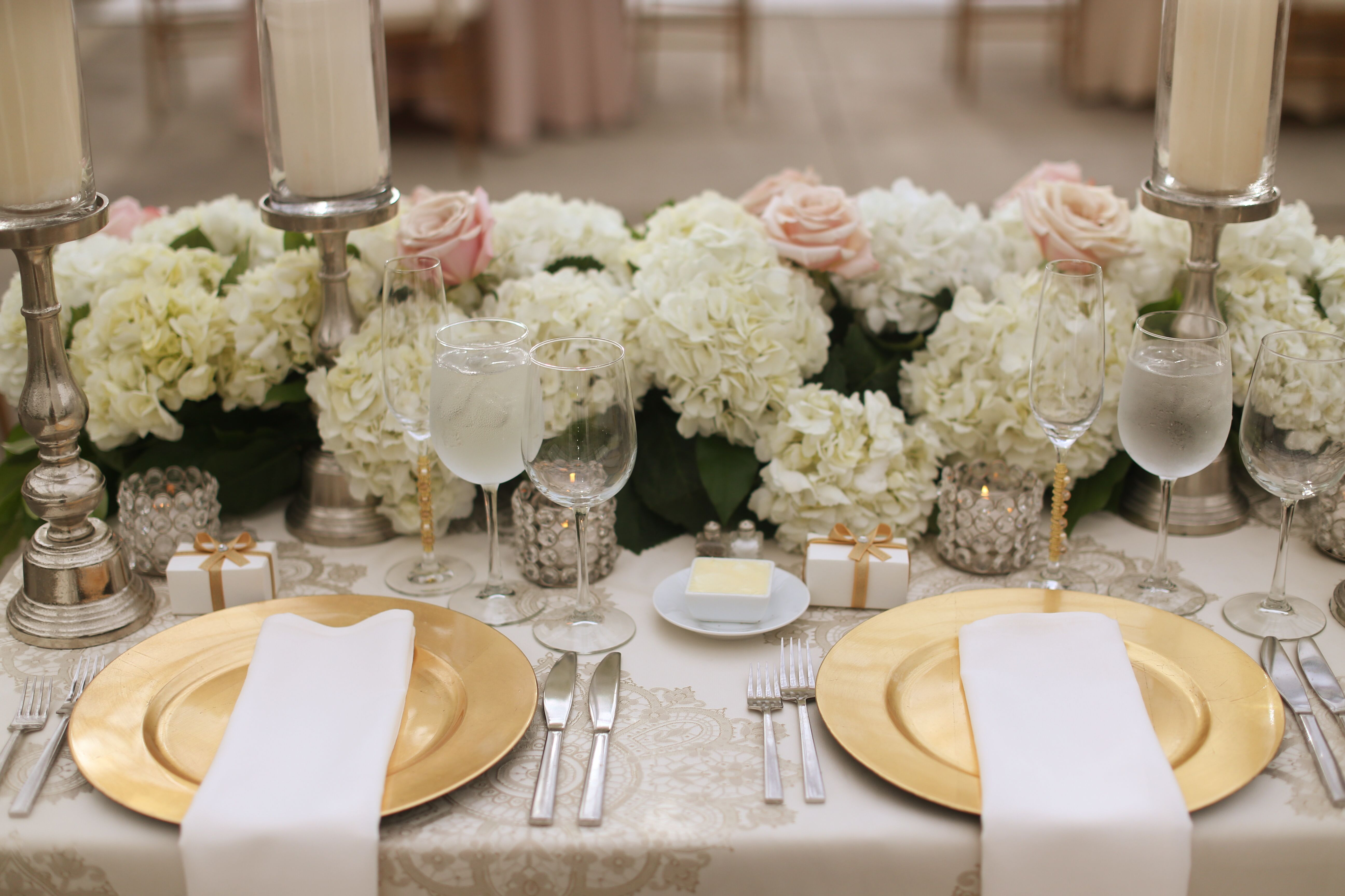 Ivory And Blush Hydrangea, Rose And Greenery Centerpiece