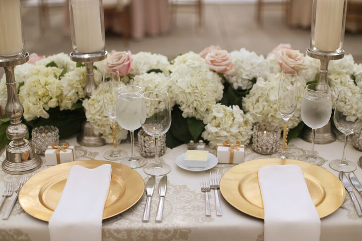 Ivory And Blush Hydrangea Rose And Greenery Centerpiece
