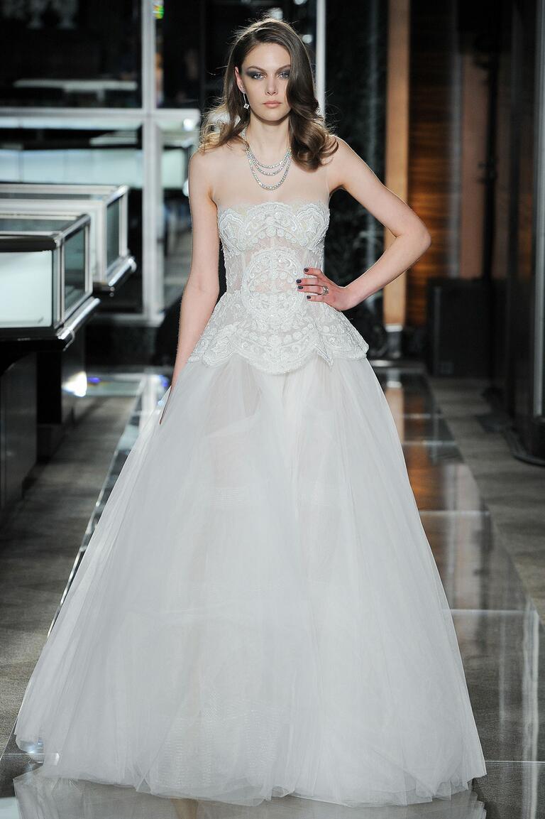 Reem Acra Spring 2018 lace peplum wedding dress