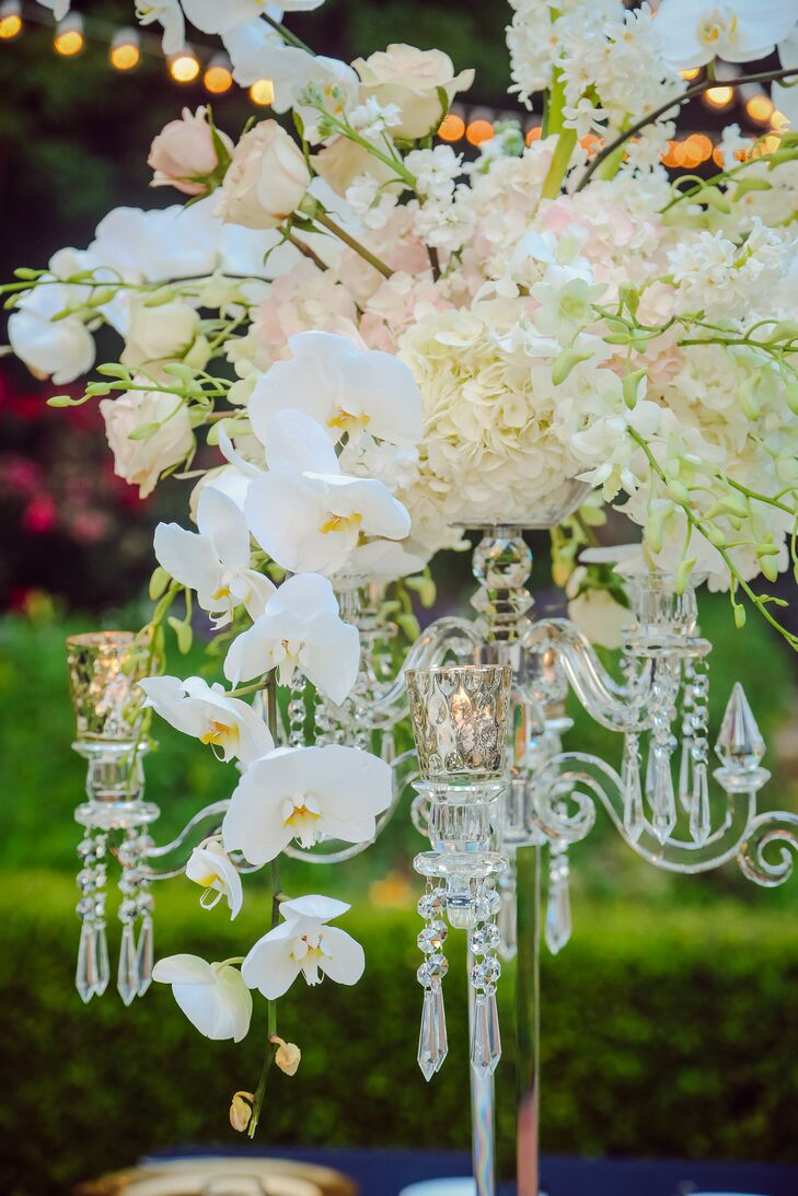 Elegant Cascading Orchid and Crystal Centerpieces
