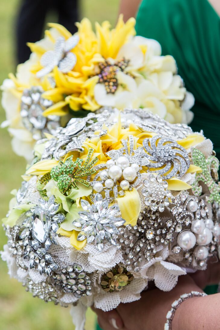 Bright Yellow Floral Bouquets With Silver Brooches