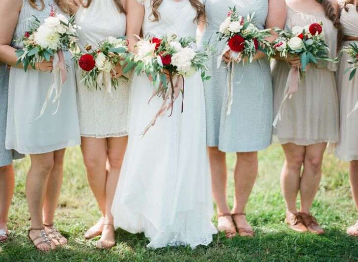 Neutral knee length bridesmaid dresses for Neutral dresses for weddings