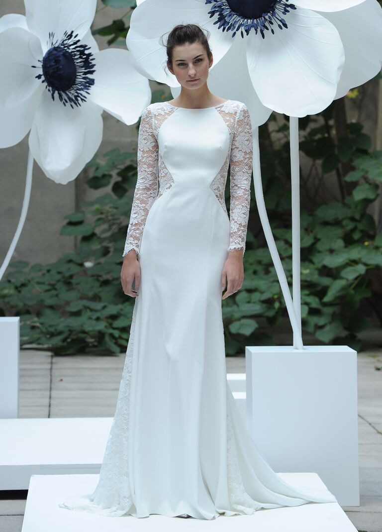 Lela rose fall 2016 collection wedding dress photos lela rose fall 2016 white silk wedding dress with lace long sleeves ombrellifo Image collections