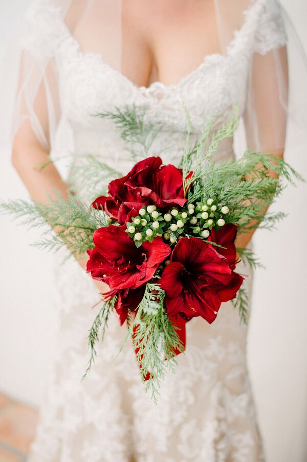 Christmas Inspired Red Amaryllis Bouquet