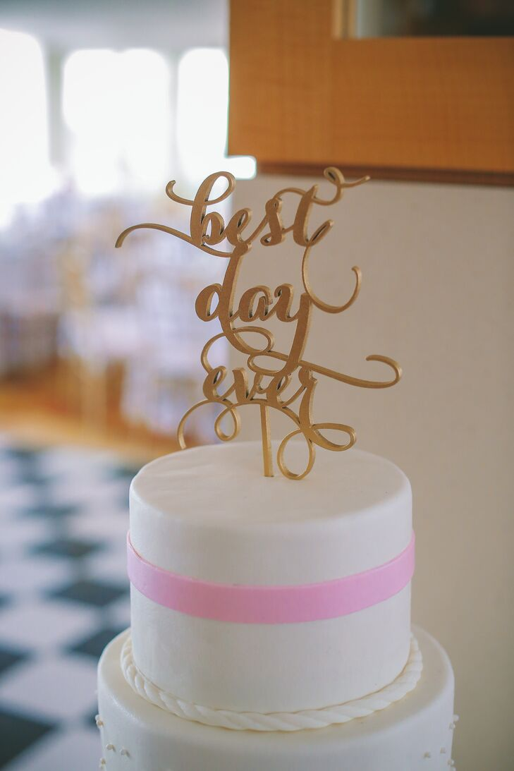 Gold Script Best Day Ever Wedding Cake Topper