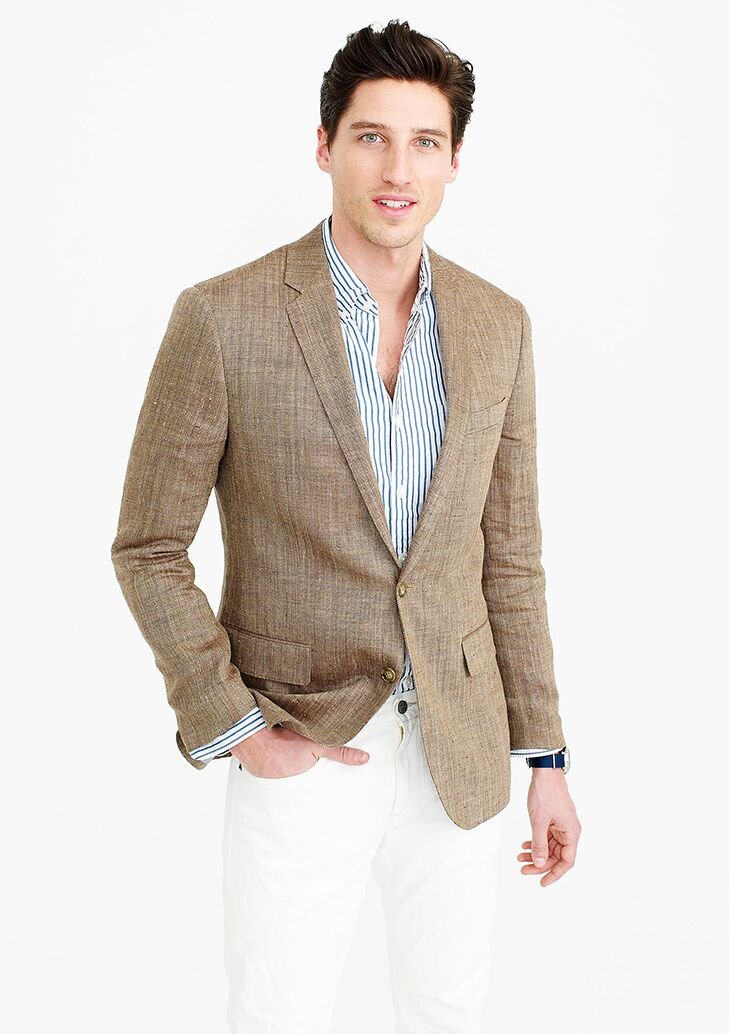 Linen Silk Blazer Beach Wedding Attire For Men