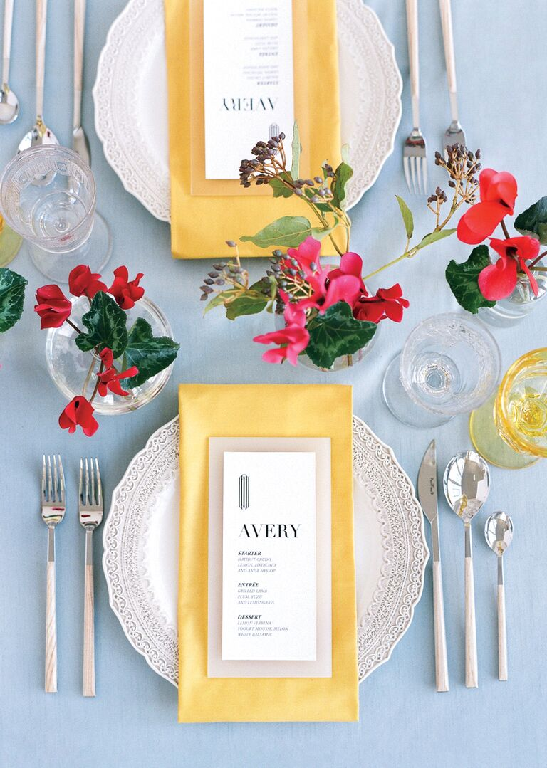 La Tavola Fine Linen yellow, blue and red tablescape