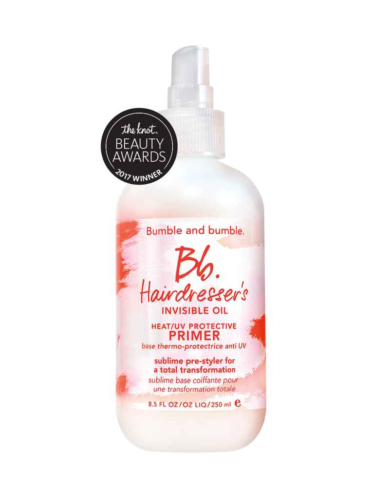 The Knot's pick for best frizz fighter is the Bumble and bumble, Hairdresser's Invisible Oil Heat/UV protective primer