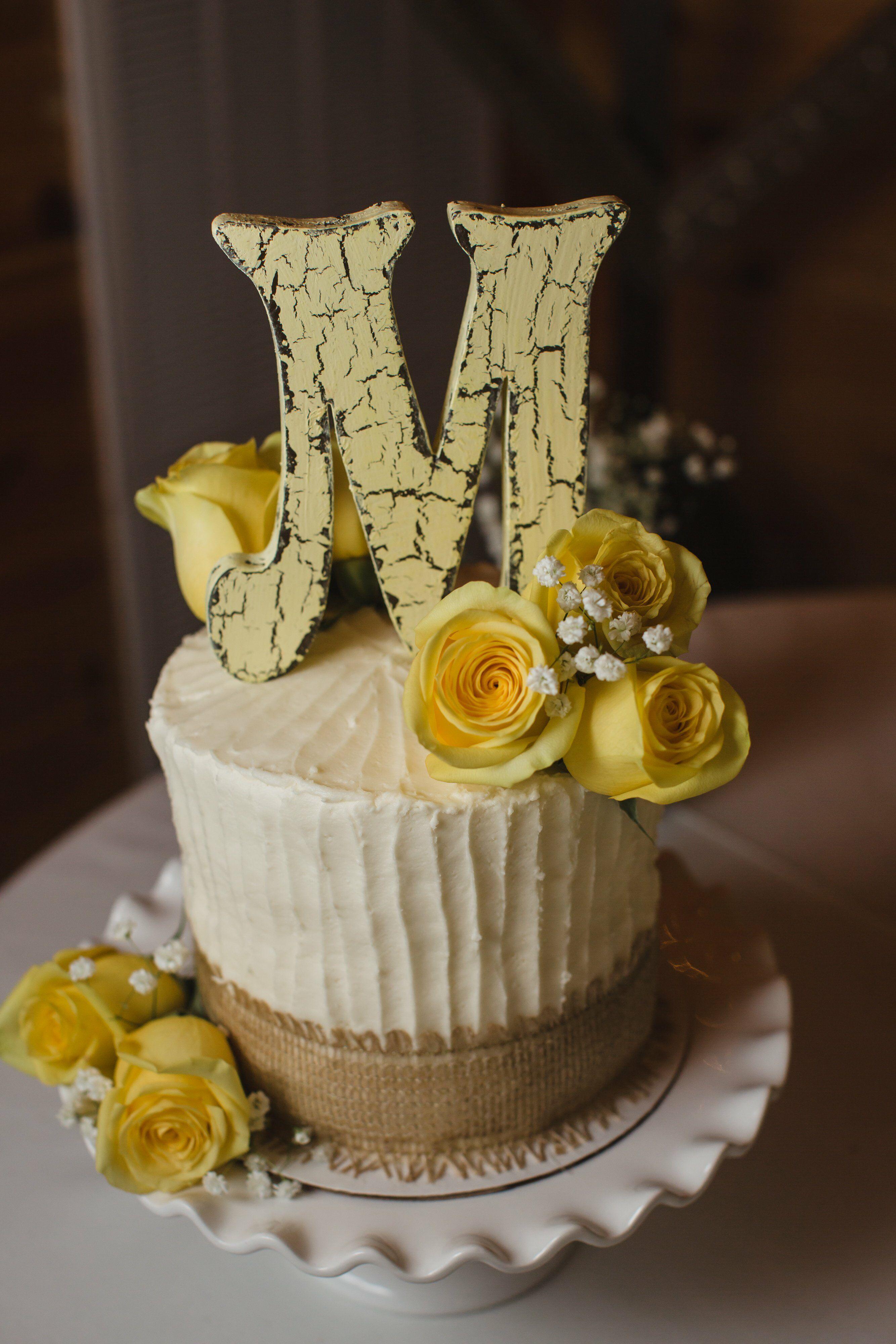 Ivory and Yellow Buttercream Cake