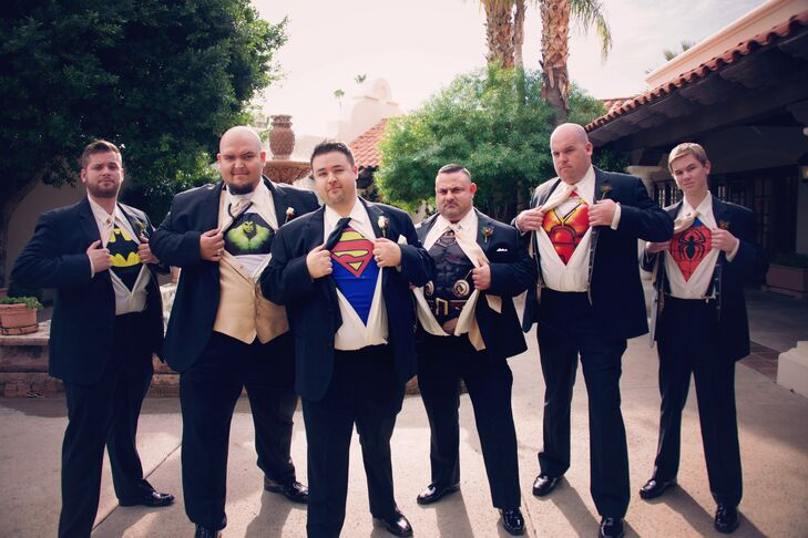 "The groom and groomsmen wore superhero shirts underneath their suits. ""We wanted to have a little fun,"" says the bride."