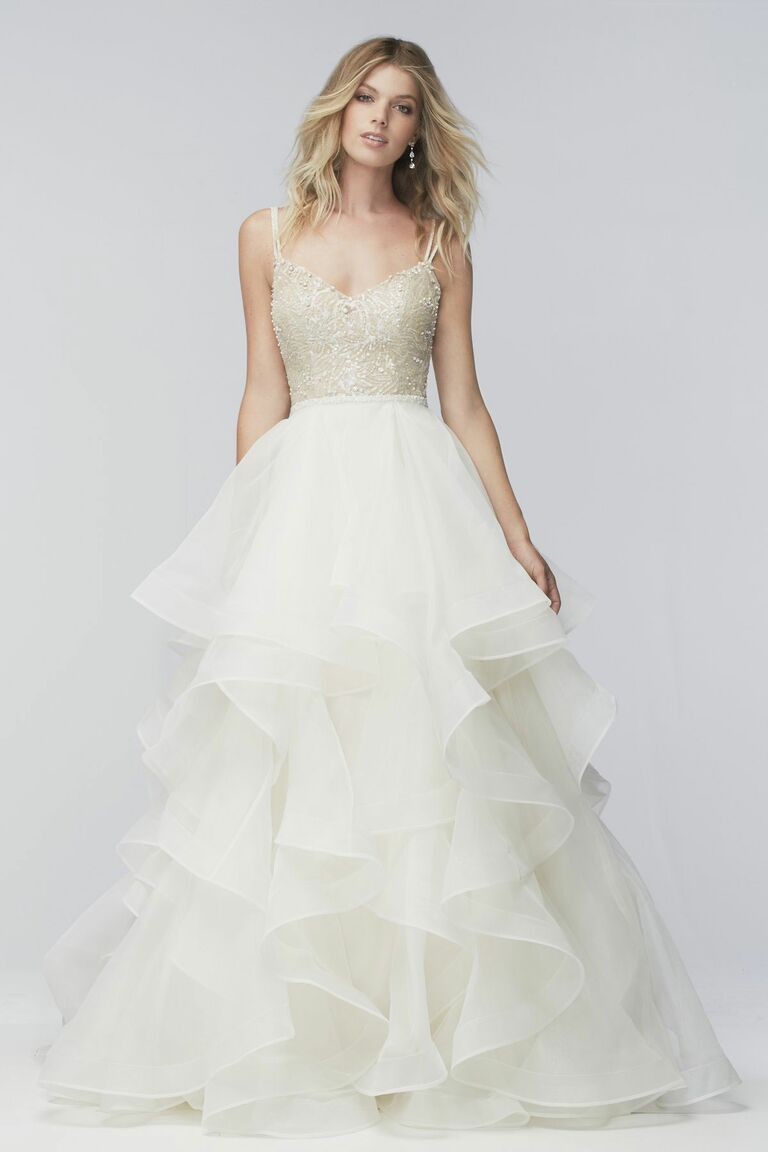 Wtoo plus size wedding dress with tiered full skirt