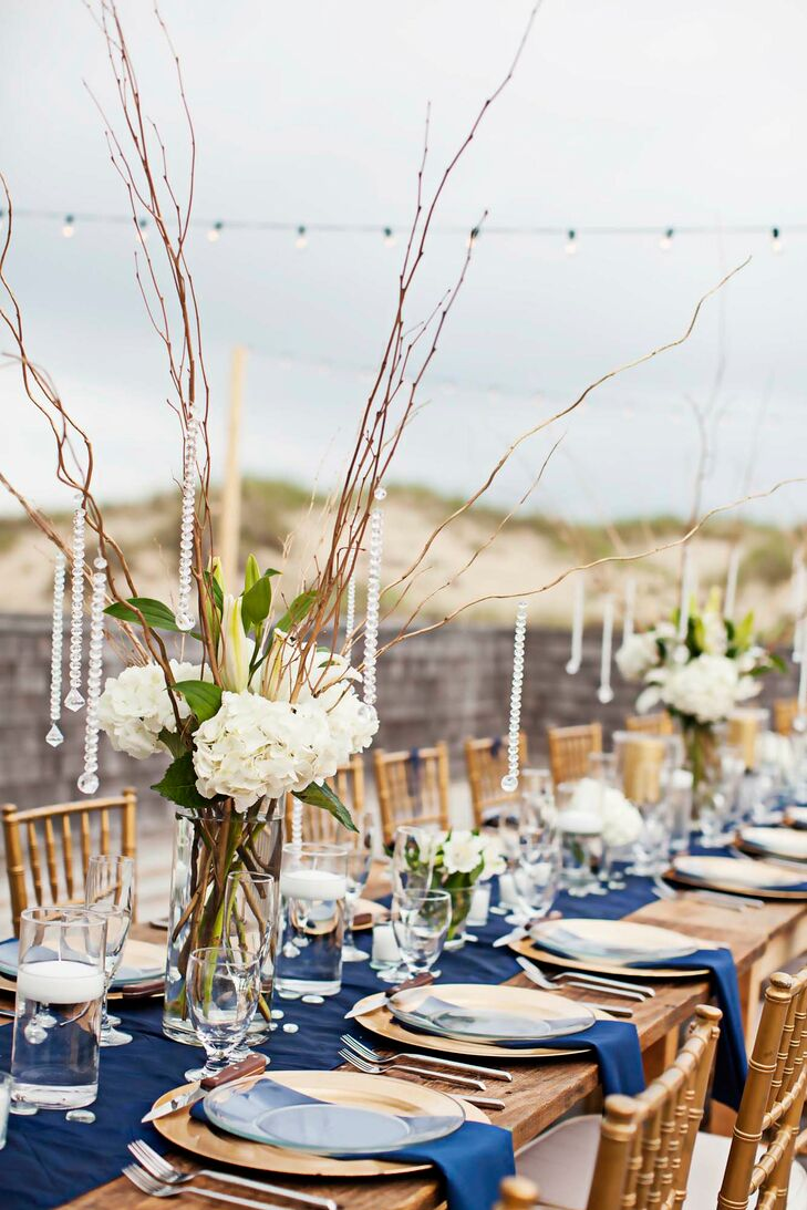 Curly Willow, Crystal and Hydrangea Centerpieces