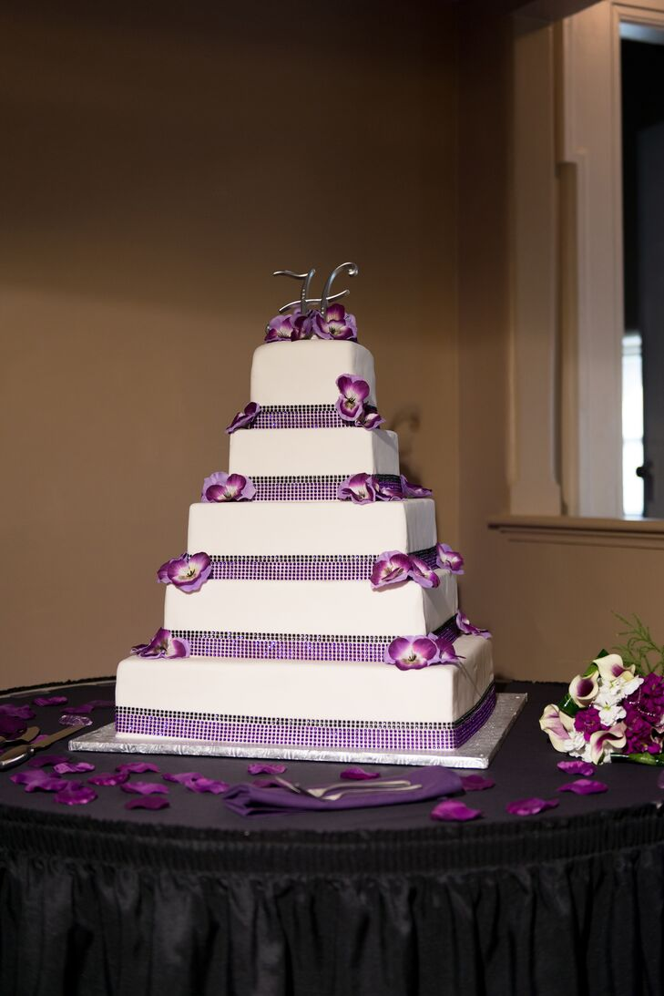 Tiered Ivory and Purple Wedding Cake