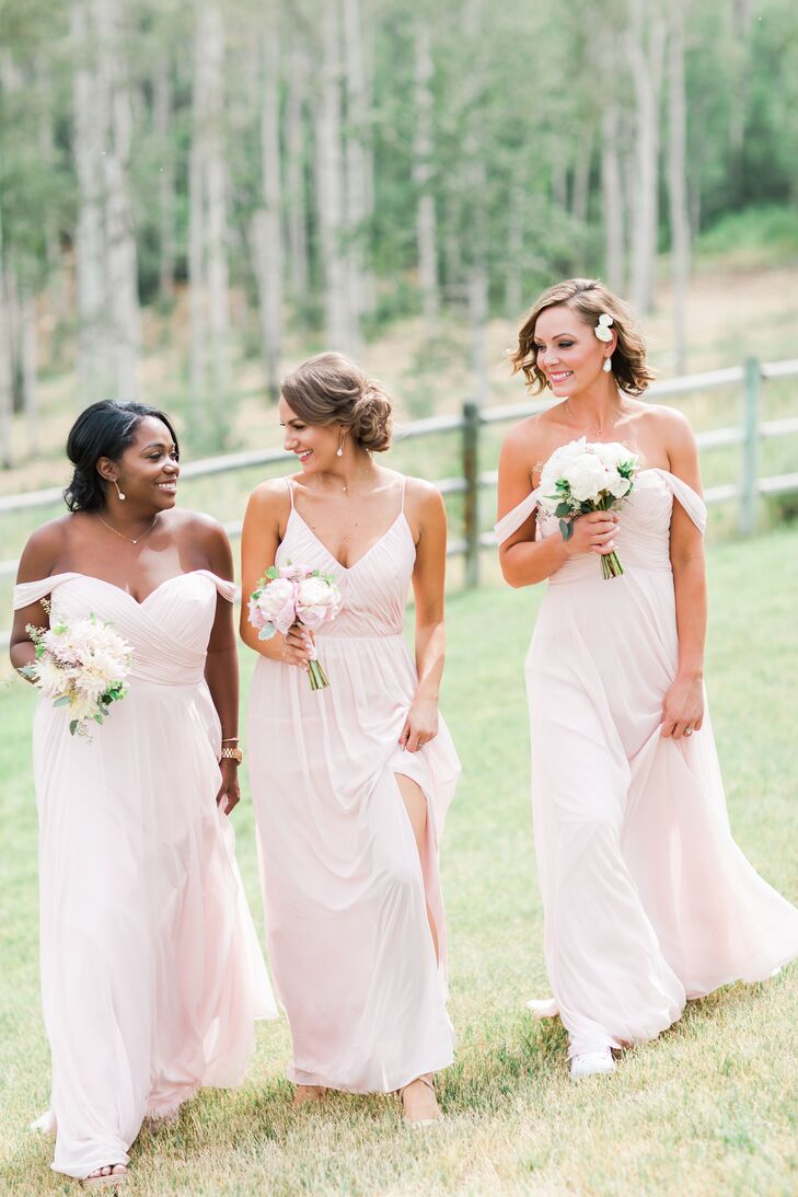 Blush Off-the-Shoulder Chiffon Bridesmaid Dresses